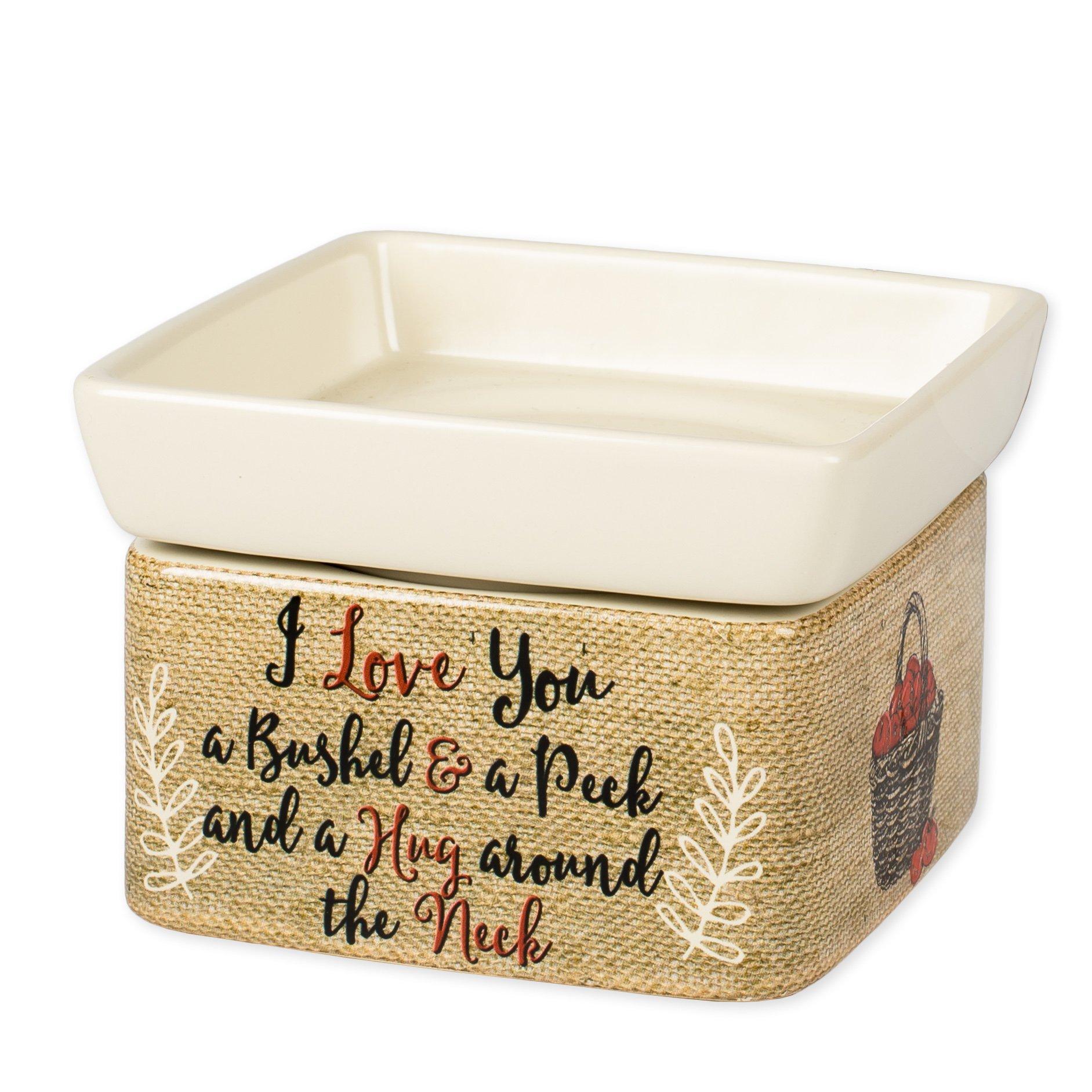 Elanze Designs I Love You A Bushel A Peck Burlap Apples Stoneware 2 in 1 Jar Candle Wax Tart Oil Warmer