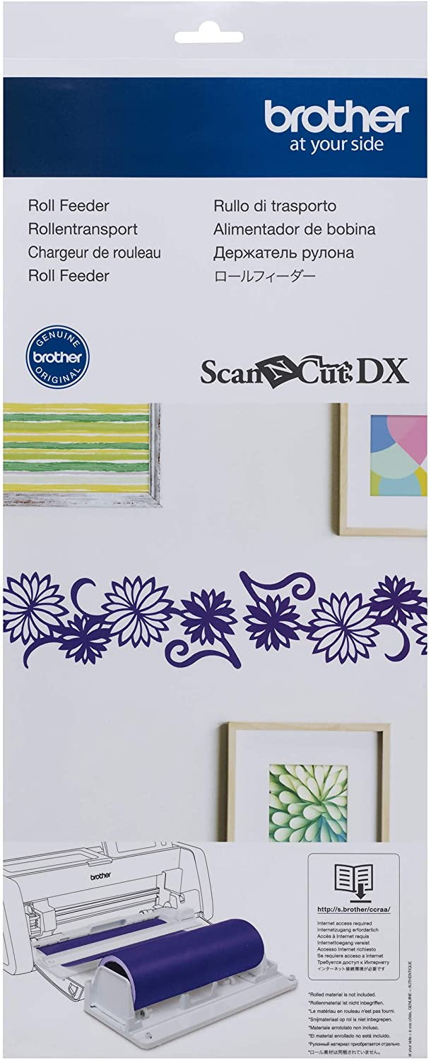 Brother ScanNCut DX Vinyl Roll Feeder CADXRF1, Mat-less Cutting for Wall Decals and Large Stickers, Includes Base Attachment, Holder and Trimmer