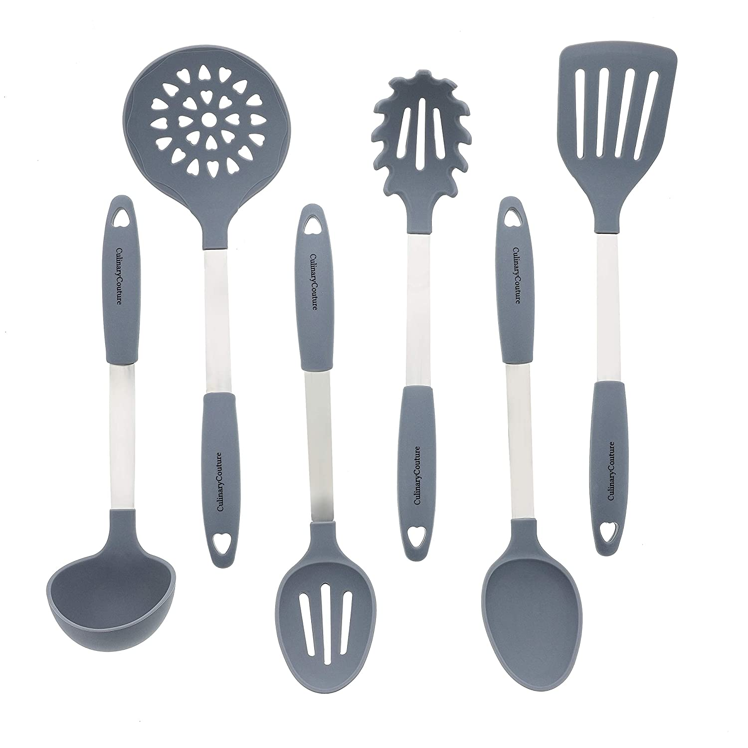 Grey Kitchen Utensil Set - Stainless Steel & Silicone Heat Resistant Cooking Tools - Spatula, Ladle, Mixing & Slotted Spoon, Pasta Fork Server, Drainer - Bonus Ebook!