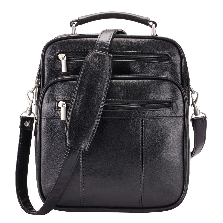 Jack Chris Mens PU Leather Crossbody Single-Shoulder Briefcase Messenger Handbag Black 020