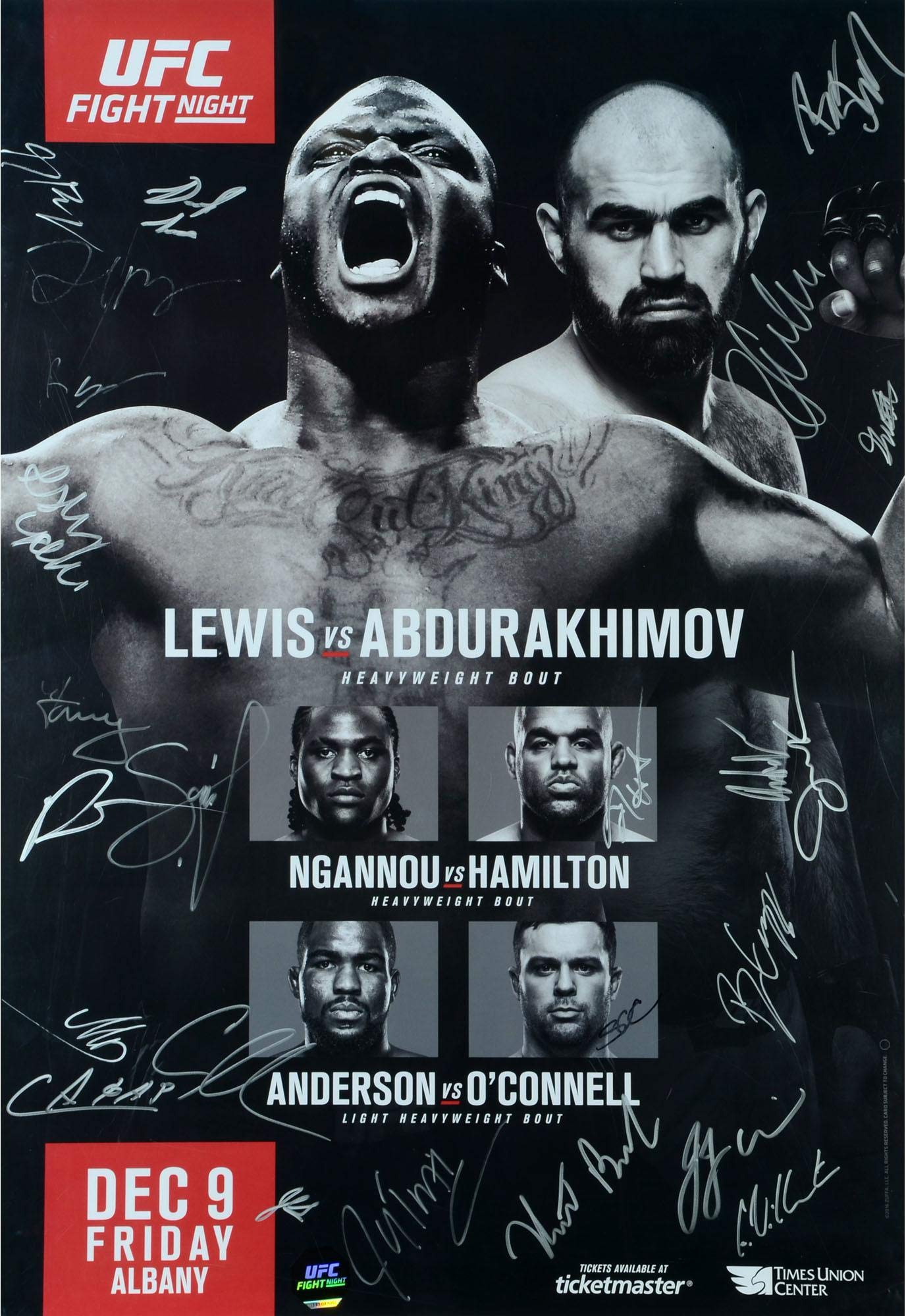 "UFC Fight Night 102 Lewis vs. Abdurakhimov Autographed 27"" x 39"" 24 Signature Fight Poster Fanatics Authentic Certified"