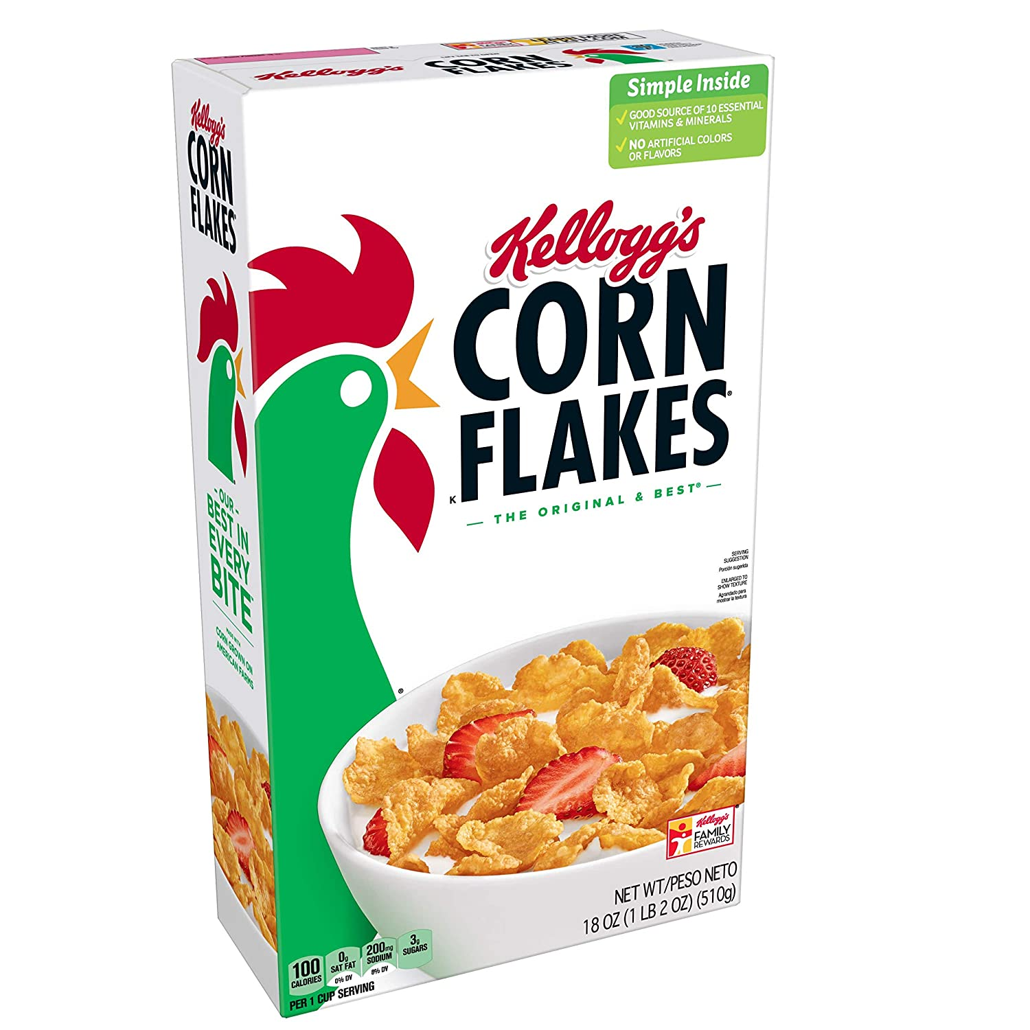 Kelloggs Corn Flakes, Breakfast Cereal, Fat-Free, Bulk Size, 216 oz (Pack of 6, 36 oz Boxes)