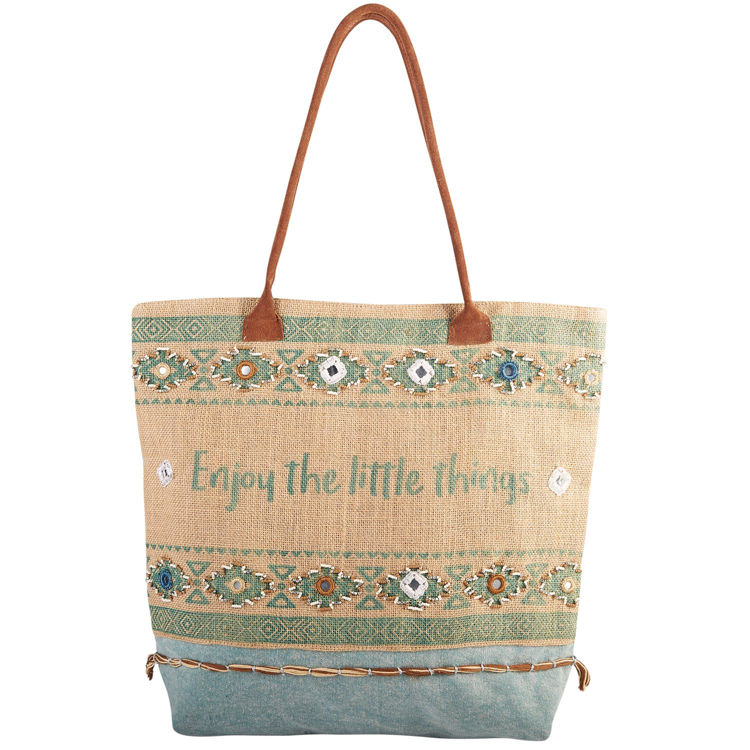 Catalog Classics Enjoy the Little Things Tote Bag - Embroidered Beaded Cotton Jute Purse
