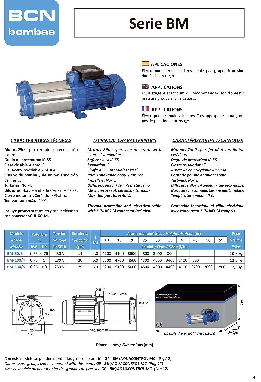 BCN bombas Bomba de agua horizontal bm-80//3