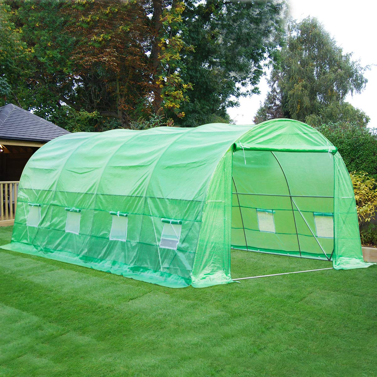 White Mellcom 20 x 10 x 7 Greenhouse Large Gardening Plant Hot House Portable Walking in Tunnel Tent