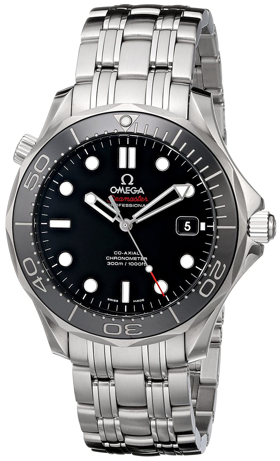 9de2d45fb35 Amazon.com  Omega Men s 212.30.41.20.01.003 Seamaster Black Dial Watch   Omega  Watches