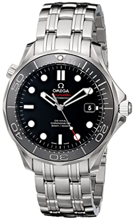 Omega Mens 21230412001003 Seamaster Black Dial Watch