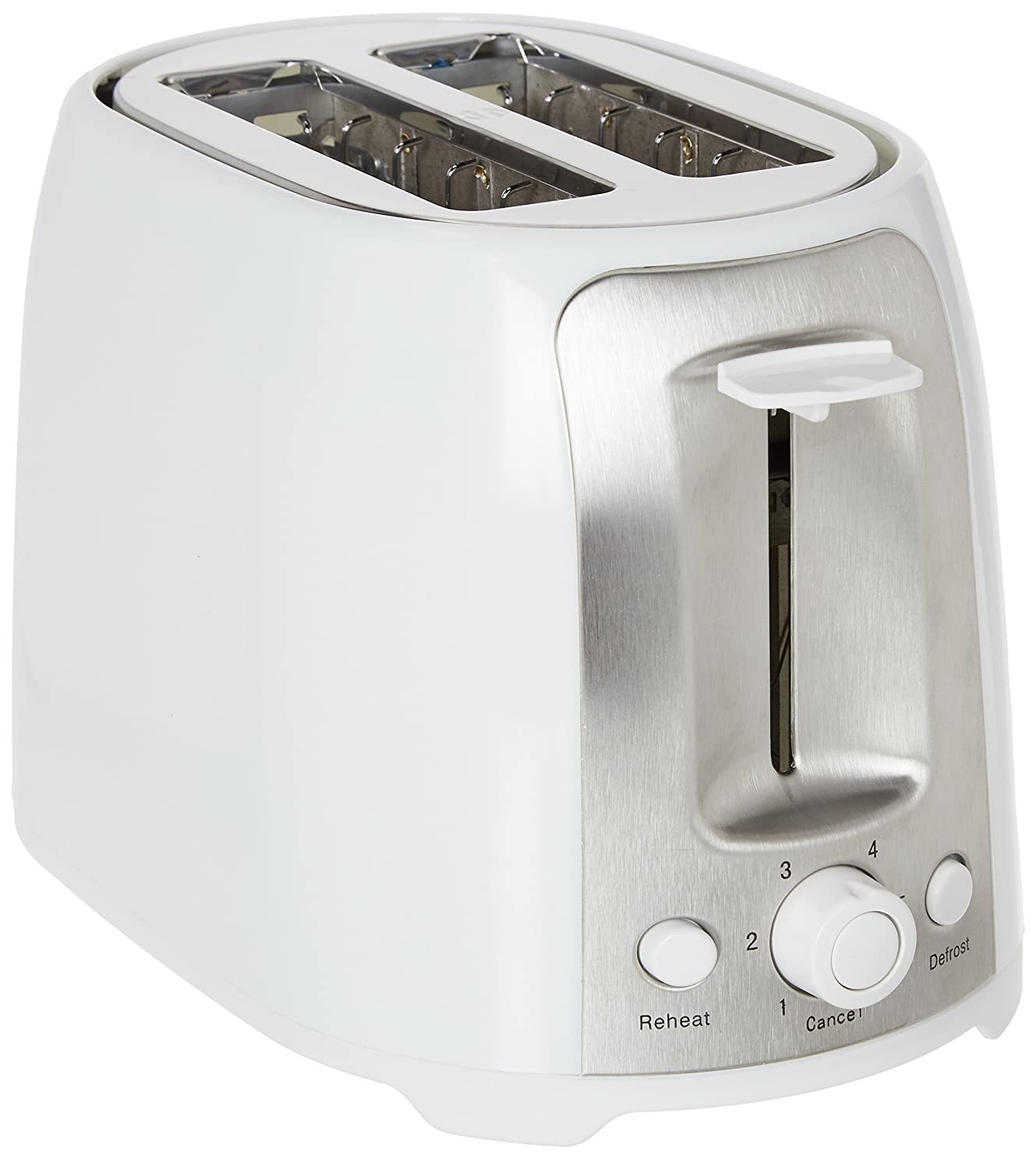 Brentwood TS-292W Cool Touch 2-Slice Extra Wide Slot Toaster, White/Silver, Extra Wide Slots for Variety of Breads, Auto-Centering Guides, 6-Setting Browning Knob, Non-Slip Feet