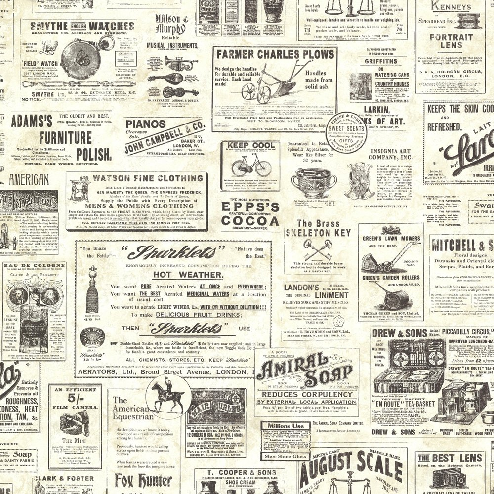 Chesapeake CTR64271 Adamstown Cream Vintage Newspaper Wallpaper