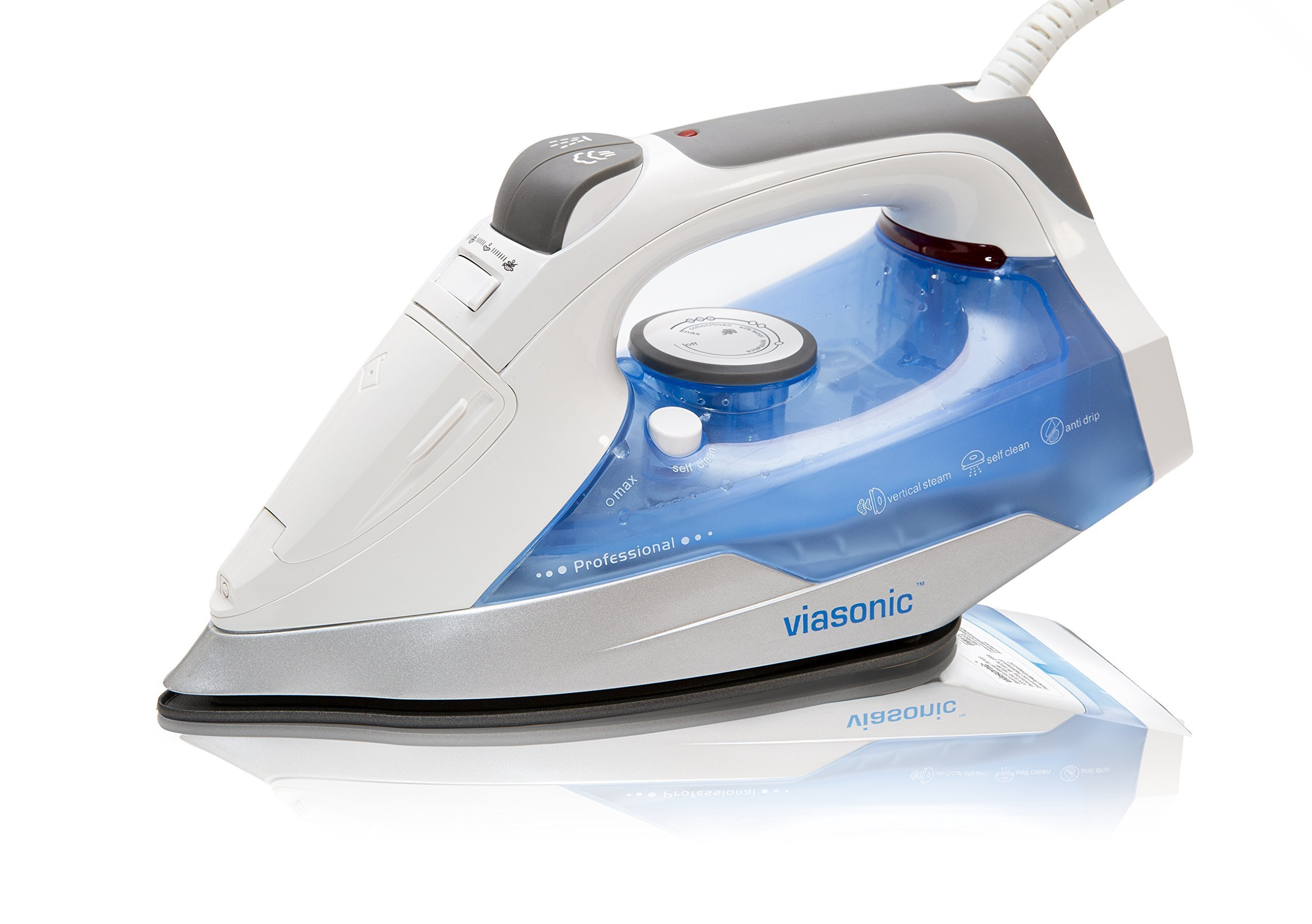 Viasonic Premium+ Steam Iron 1400W, Anti-Drip & Self-Cleaning, Anti-Calcium, Vertical Steam, NonStick Soleplate, XL 250ML Tank - Steam, Spray, & Dry Functions - ETL Listed, by Unity by Viasonic