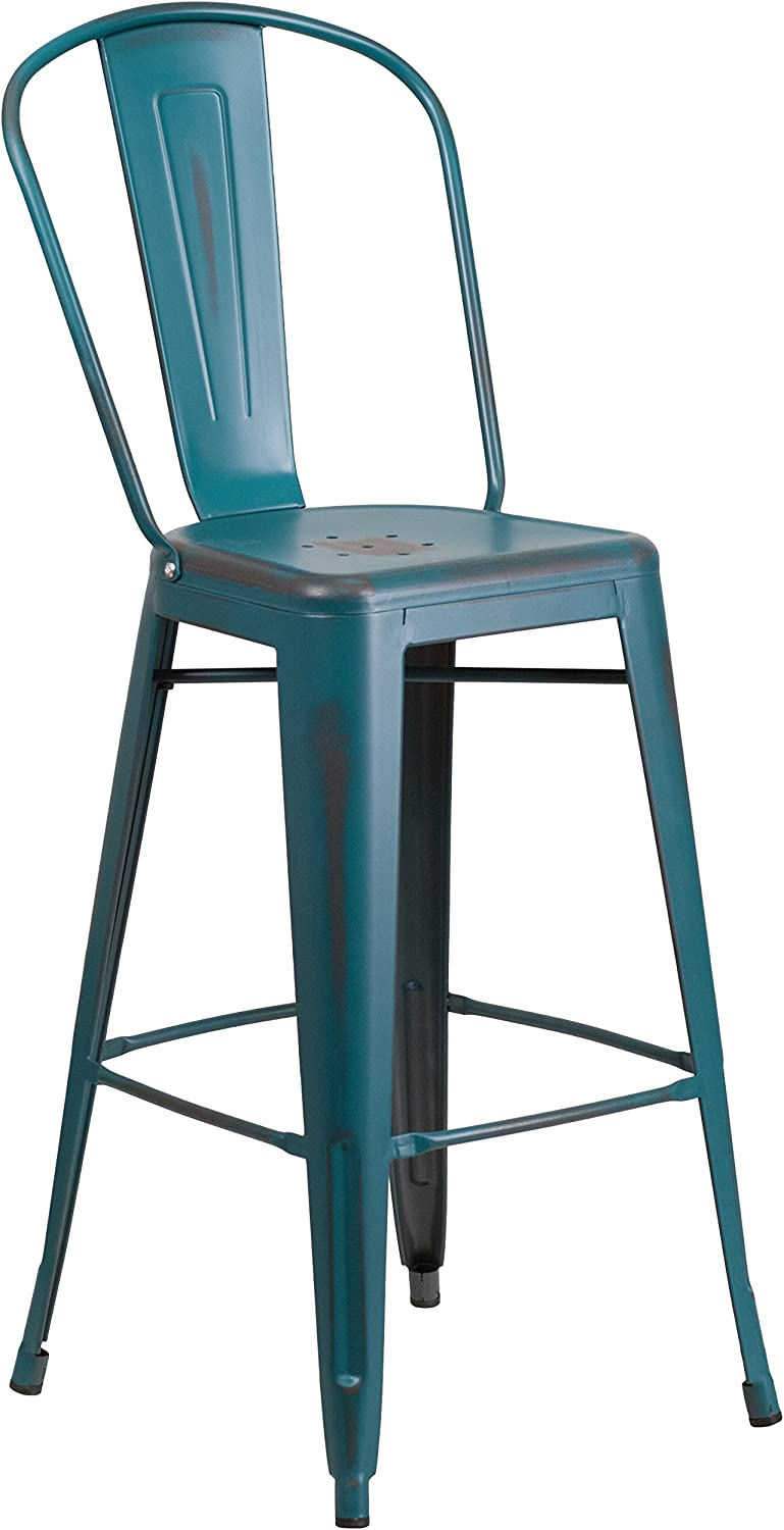 """Flash Furniture Commercial Grade 30"""" High Distressed Kelly Blue-Teal Metal Indoor-Outdoor Barstool with Back"""