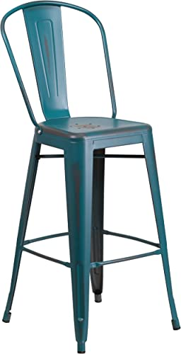 Flash Furniture Commercial Grade 30″ High Distressed Kelly Blue-Teal Metal Indoor-Outdoor Barstool