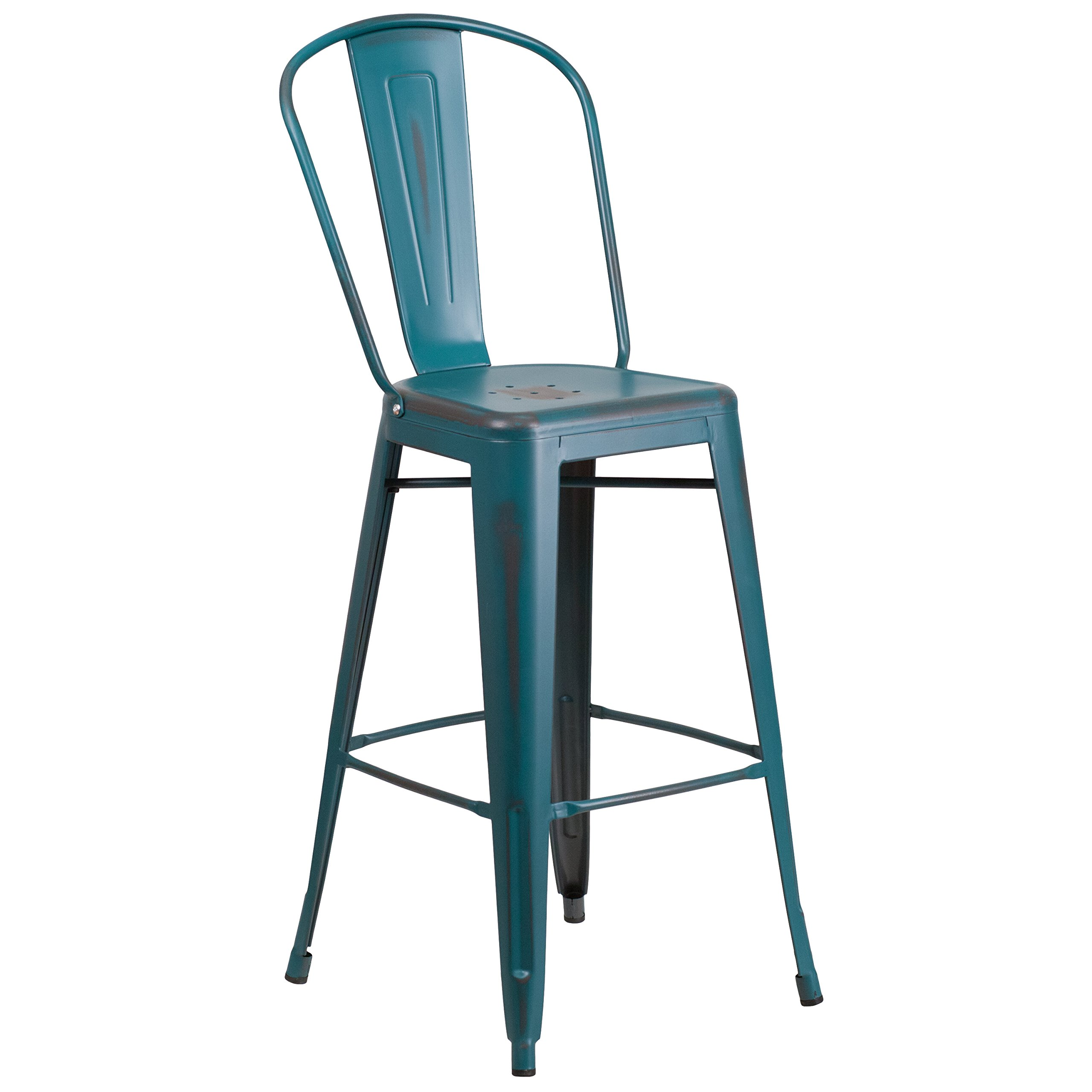 Flash Furniture 30'' High Distressed Kelly Blue-Teal Metal Indoor-Outdoor Barstool with Back by Flash Furniture