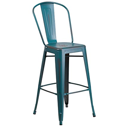 Flash Furniture 30u0027u0027 High Distressed Kelly Blue Teal Metal Indoor Outdoor  Barstool