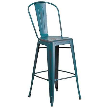 Flash Furniture 30 High Distressed Kelly Blue-Teal Metal Indoor-Outdoor Barstool with Back