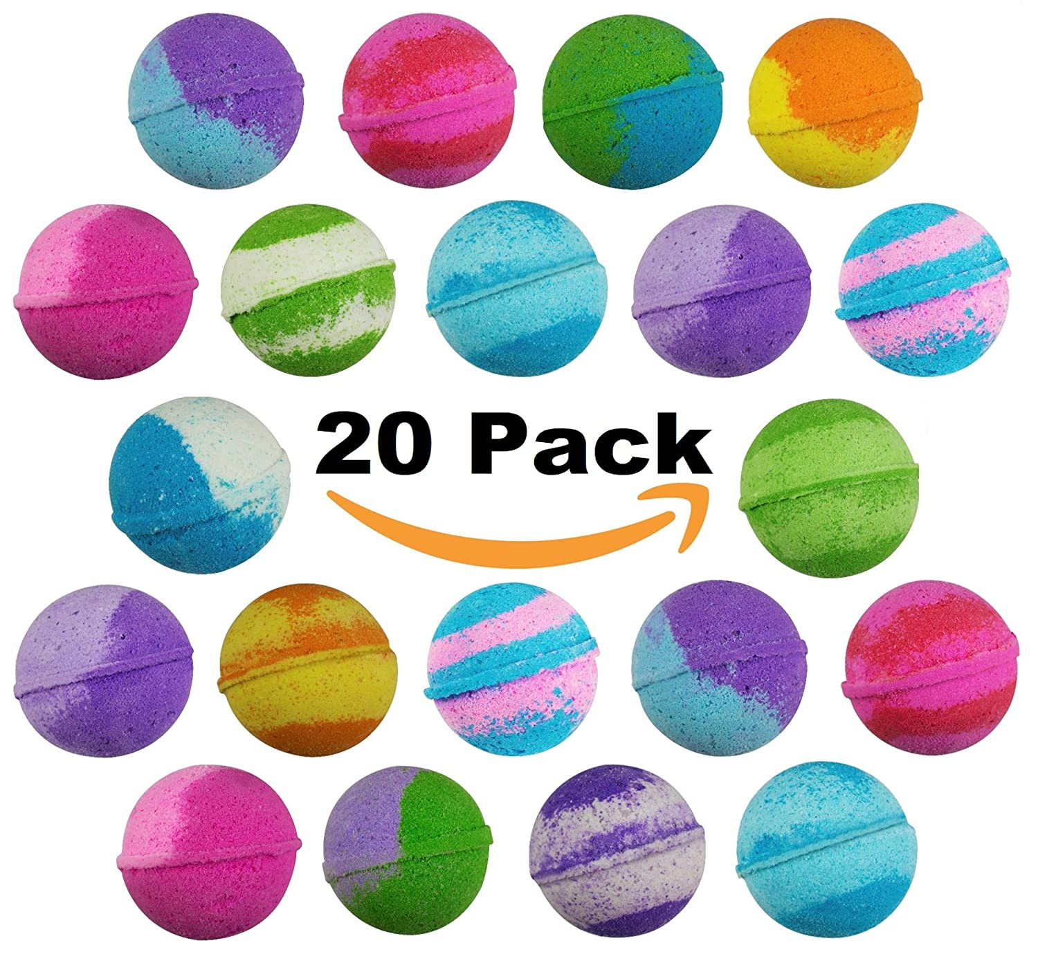 20 Pack of Best Selling Vegan Bulk Bath Bombs – Made with Organic Essential Oils Lush Spa Bath Fizzies for Moisturizing Dry Skin - Paraben & Gluten Free - Best Gift idea for Aromatherapy enthusiasts Sense Sation