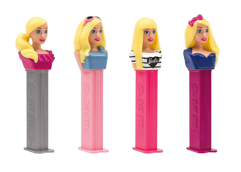 PEZ set de dispensadores Barbie (4 dispensadores con 3 recargas de caramelos PEZ de 8,5g c/u) + 2 paquetes de recargas (8 recargas de caramelos PEZ de 8,5g ...