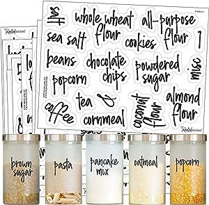 Talented Kitchen 157 Script Pantry Labels – 157 Mega Set – Food Label Sticker, Water Resistant Food Labels. Preprinted Stickers Decals Jars Pantry Organization Storage (Set of 157 –Mega Script Pantry)