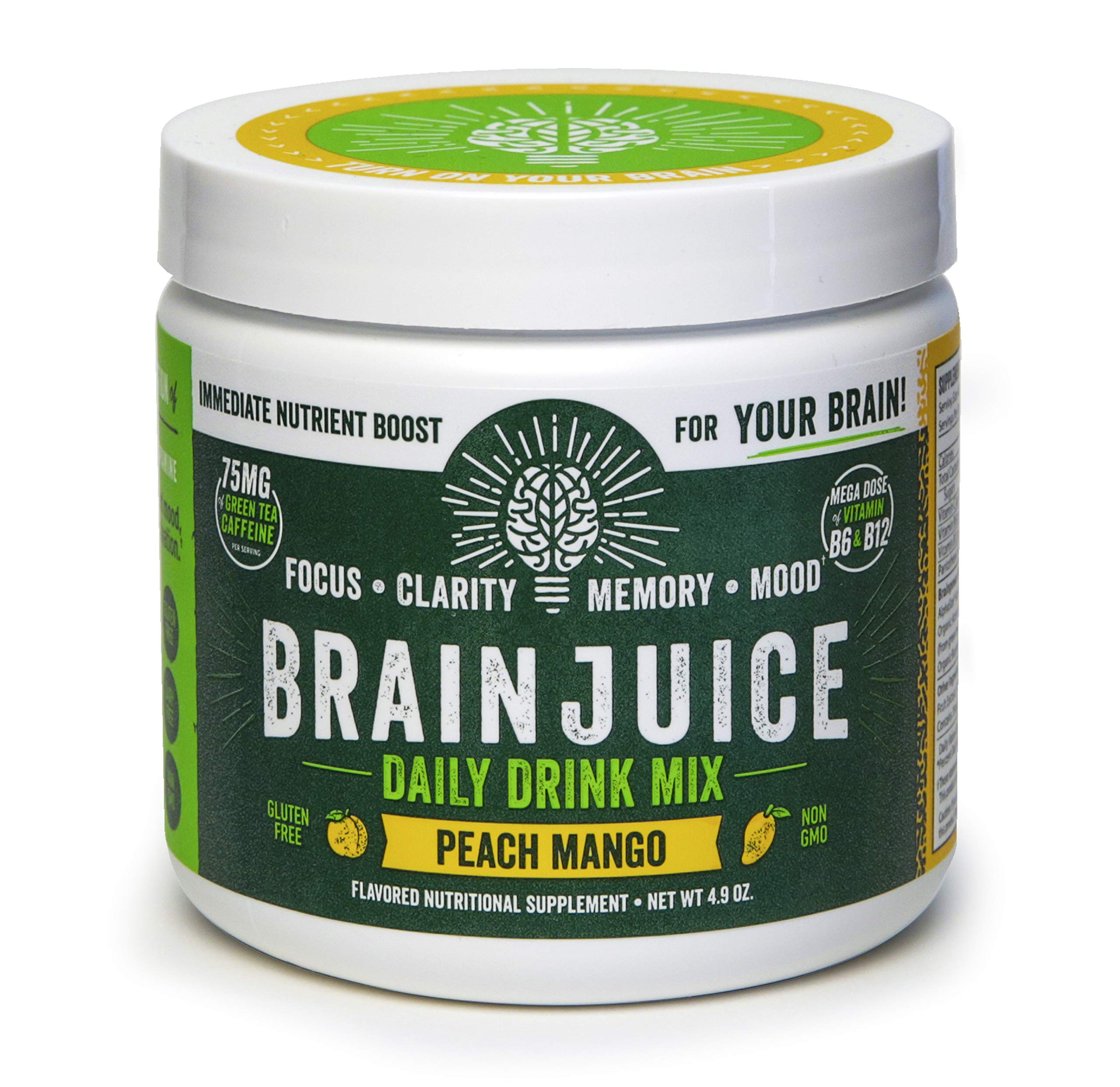 BrainJuice Brain Booster Daily Drink Mix, Original Peach Mango | Supplement for Improved Energy, Memory, Focus, Clarity & Mood, Gluten-Free, Non-GMO | 30 Servings