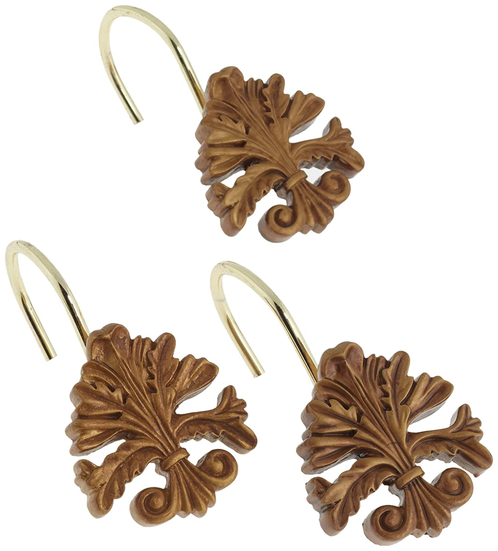 Carnation Home Fashions Fleur Dis Lis Ceramic Resin Shower Curtain Hook, Silver PHP-FL/03