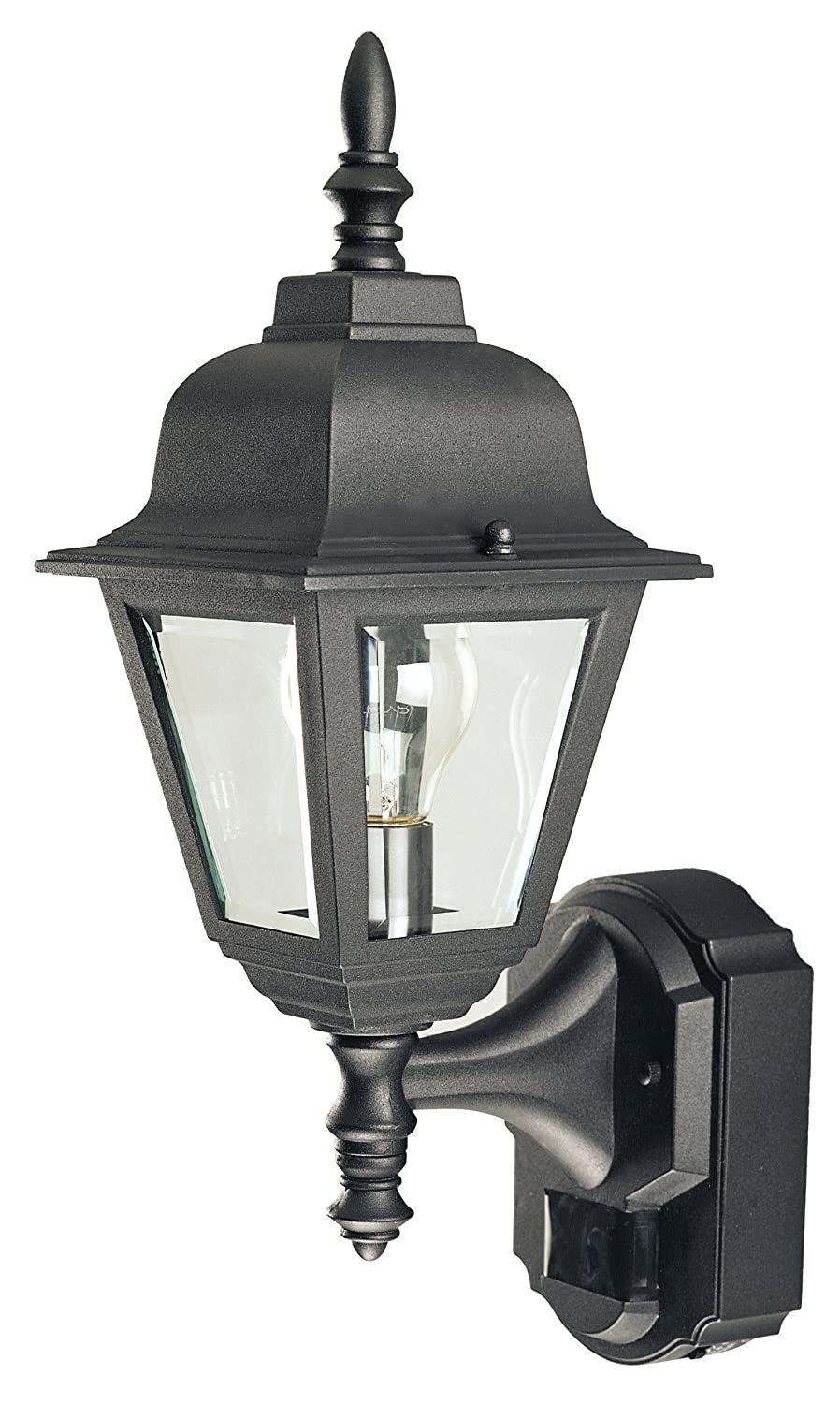 Great Heath Zenith SL 4191 BK 180 Degree Motion Activated Country Cottage  Decorative Lantern, Black