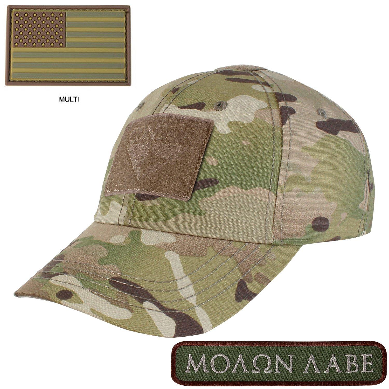 Condor Tactical Cap Multicam with PVC U.S. Flag TWO Morale Patch Bundle febdec0807e