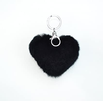 7c5204cf34 Surell Genuine Rex Rabbit Heart Pom Pom Keychain with Bag Clip - Bag Purse  Charm -