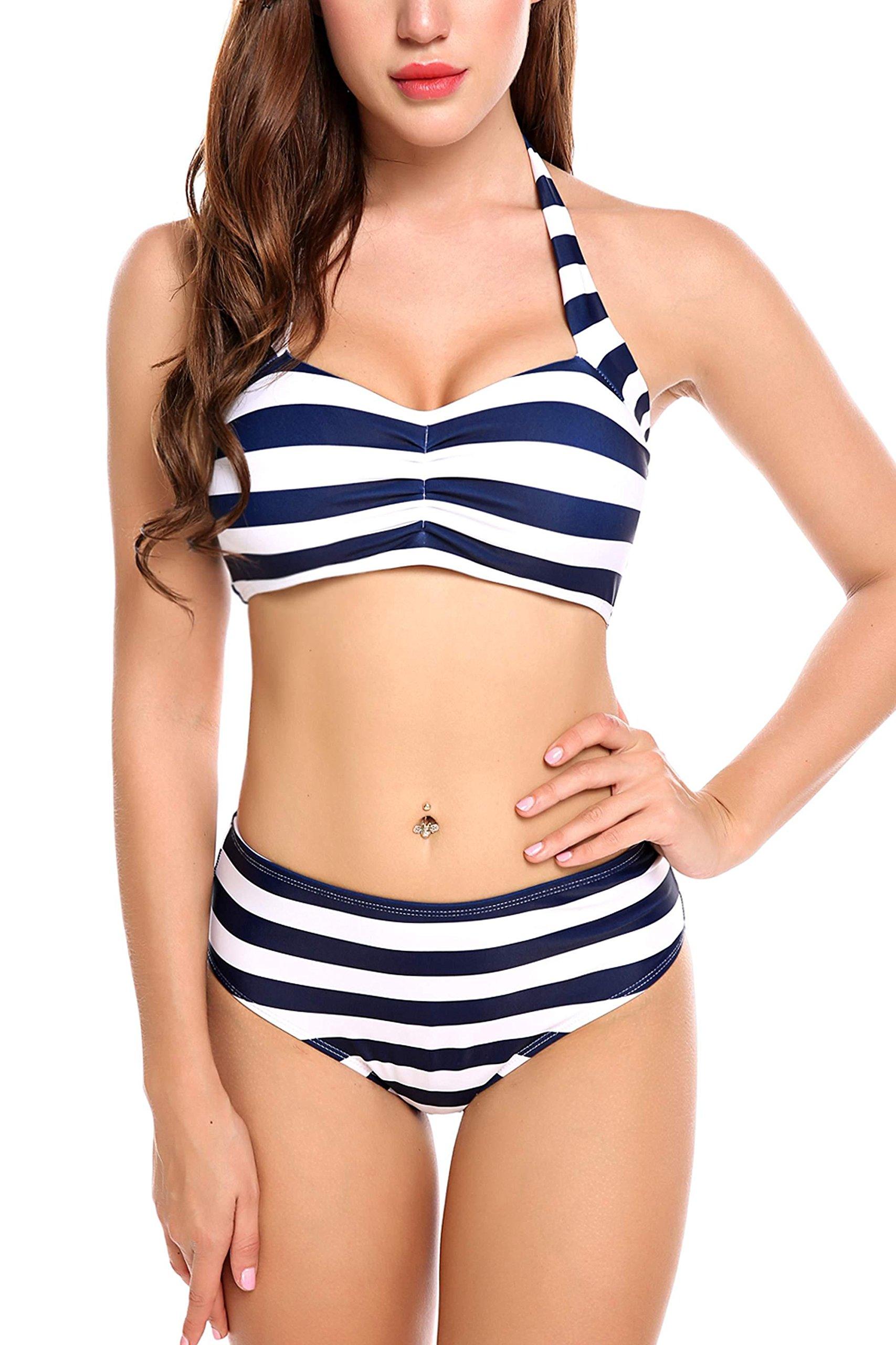 ADOME Women High Waisted Swimwear Push up Bikini Set Halter Underwired Swimsuits, Style 1-navy Blue, Large