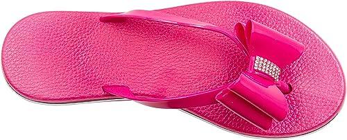 Sara Z Girls Vegan Thong Sandal with Rhinestones Embellishment
