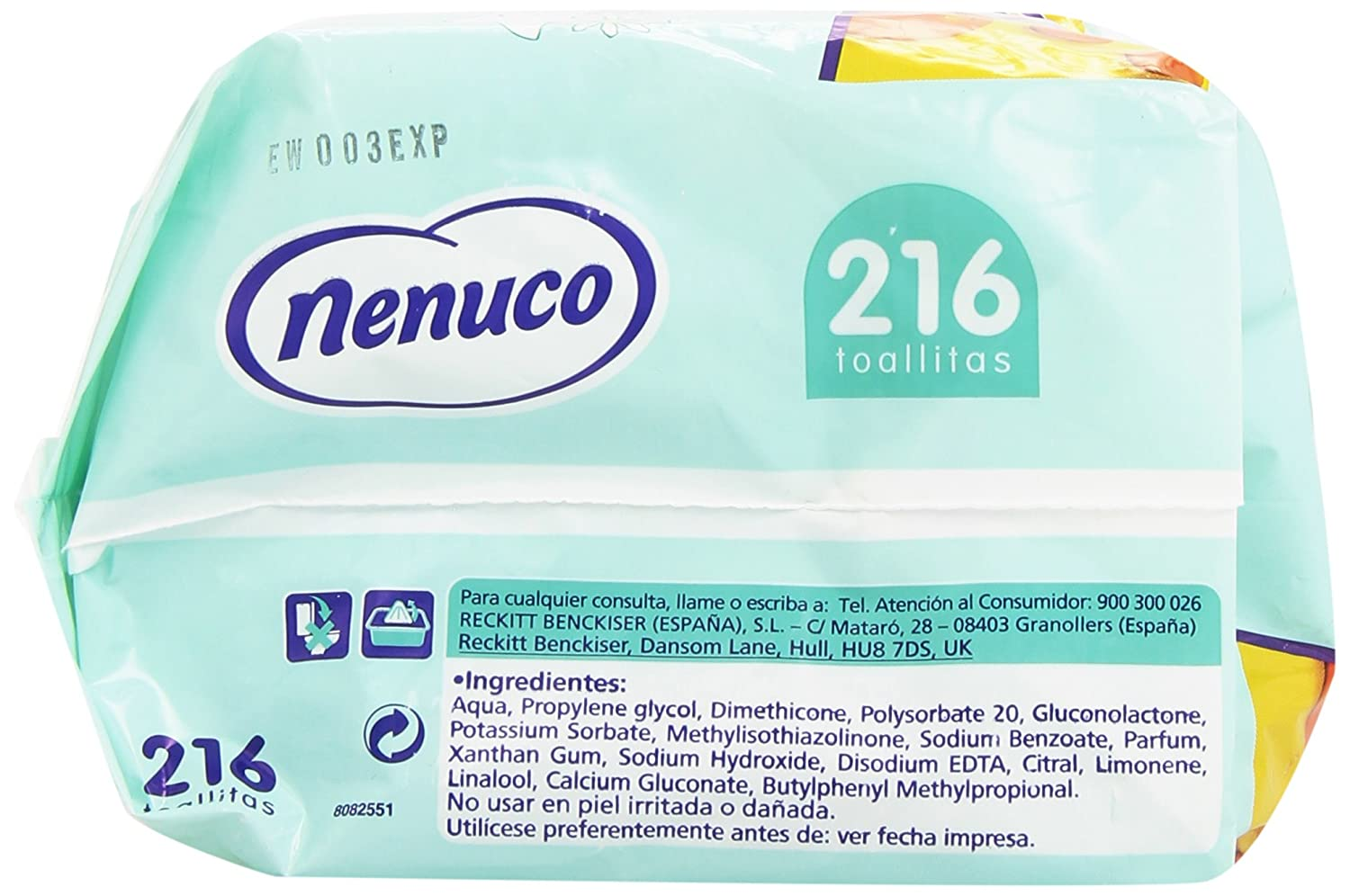 Nenuco Toallitas Dermosensitive para pieles sensibles - 216 unidades: Amazon.es: Amazon Pantry