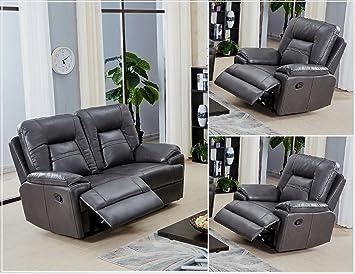 Conjunto de sofá sillón de 2 o 3 plazas, reclinable, gris ...