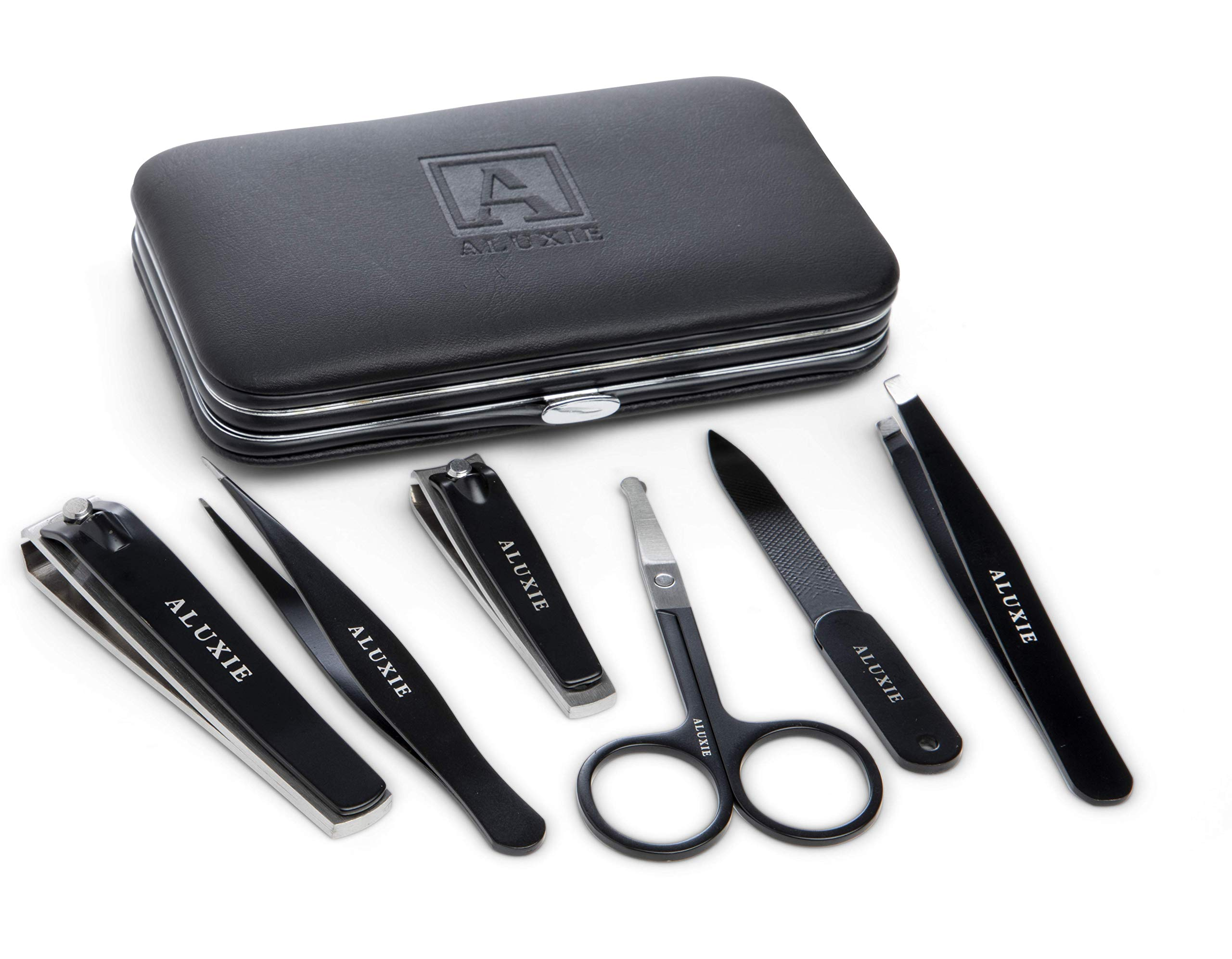 Manicure and Pedicure Kit for Men by Aluxie - Convenient, Time Saving, Luxury Grooming Gift Set, Travel-Size Leather Case - Stainless Steel by Aluxie