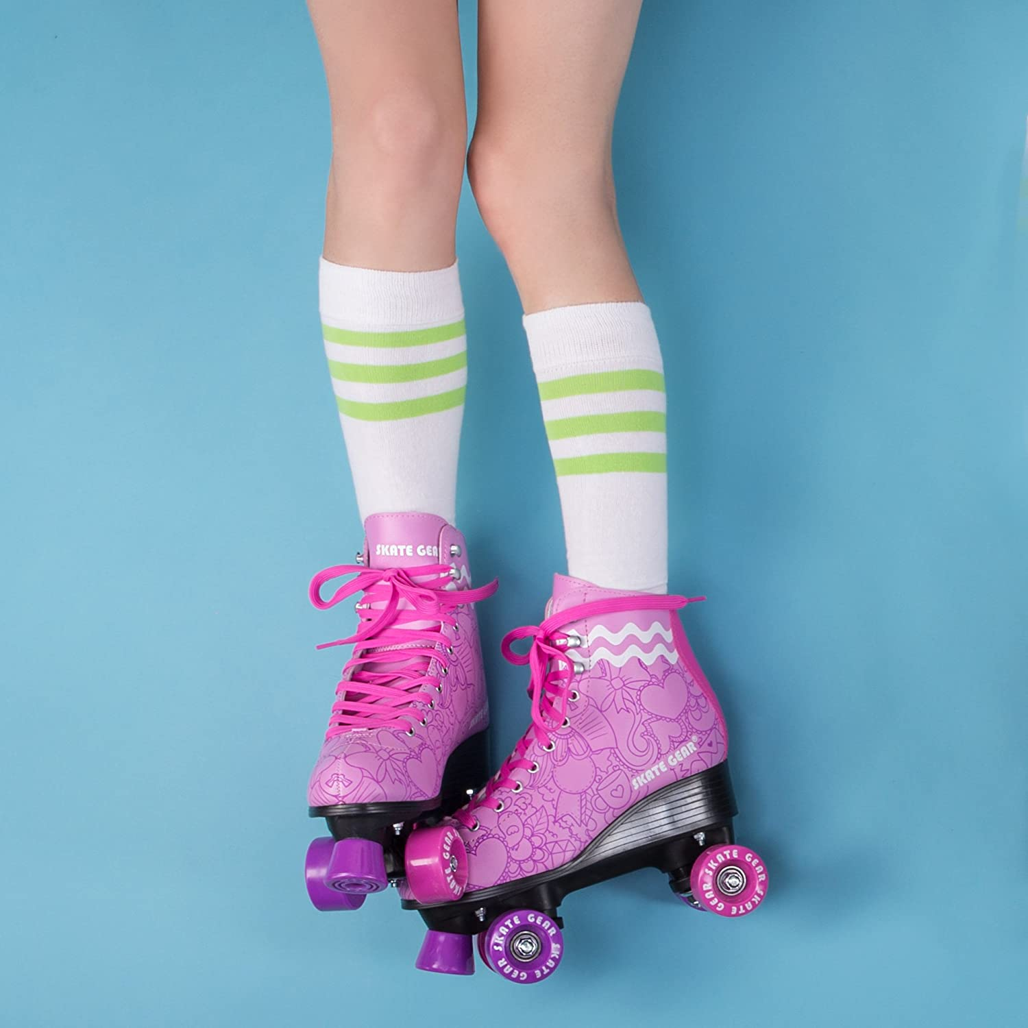 Cal 7 Roller Skates for Indoor /& Outdoor Skating Adults /& Kids Faux Leather Boot with Quad Design Ankle Support Frame