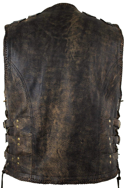 Gr/ö/ße XL Bores Sunride 5 Leder Lederweste mit Seitlicher Weitenverstellung Schwarz