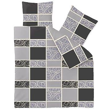 CelinaTex Winter Bettwäsche 200x200 Microfaser Fleece Bettbezug Mit 80x80  Kissenbezug Style Bettgarnitur Denise Muster Gestreift Grau