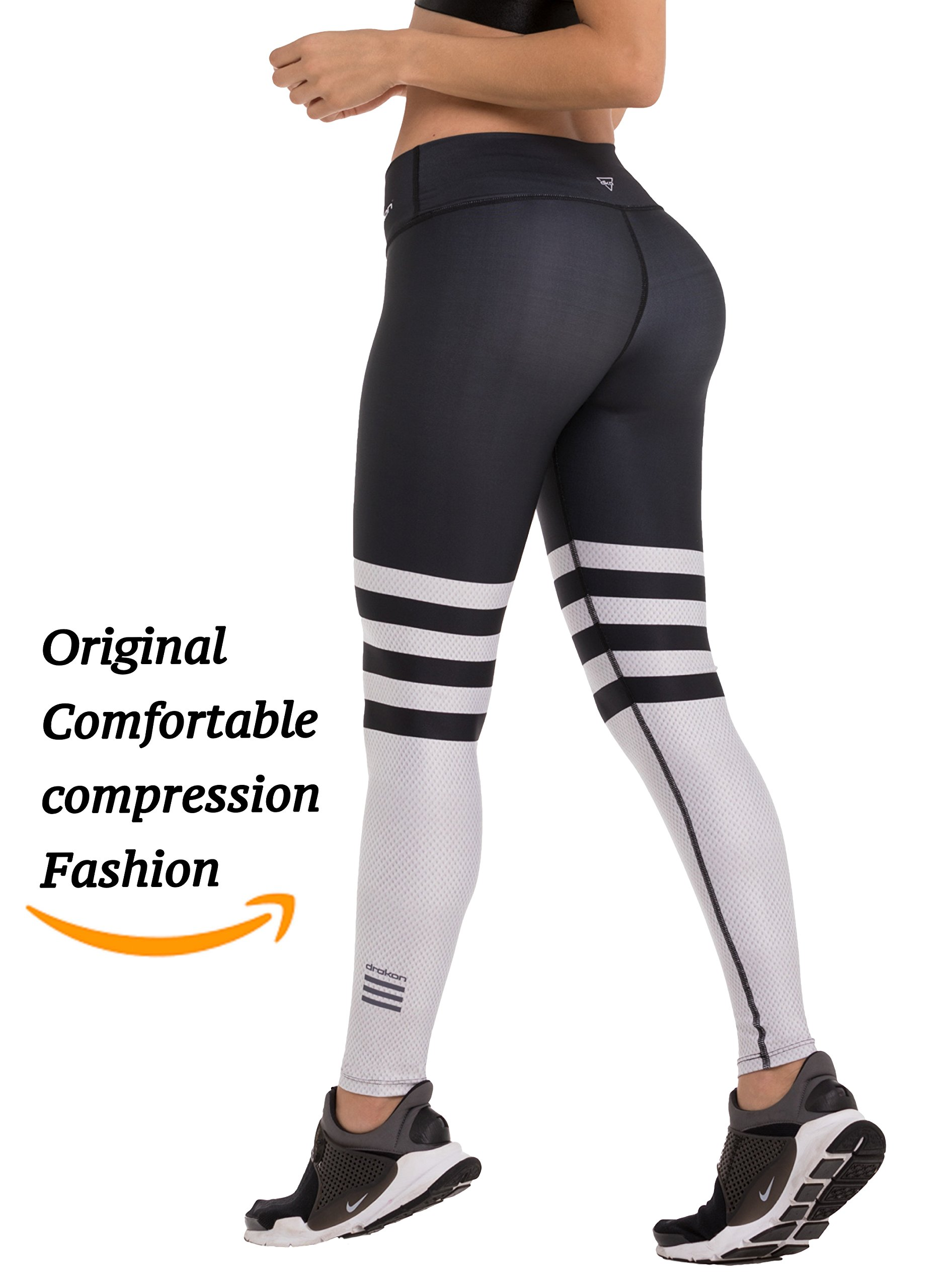 Drakon Many Styles Of Crossfit Leggings Women Colombian Yoga Pants Compression Tights (Black White),One Size