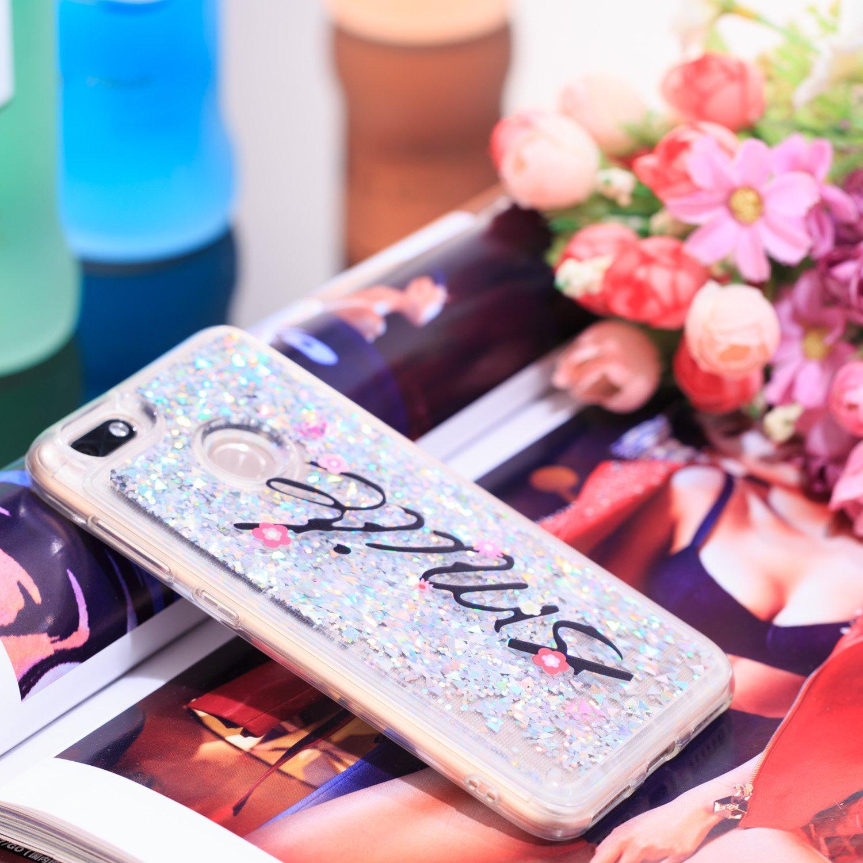 MSOSA Funda para Huawei Y6 Pro 2017//Enjoy 7//P9 Lite Mini Silicona Purpurina Carcasa TPU Cristal Bumper Funda Paras Case Cover para Huawei Y6 Pro 2017//Enjoy 7//P9 Lite Mini/_Flor del Ciruelo