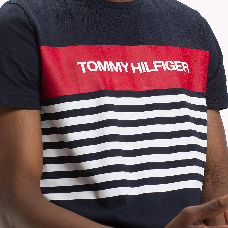 f5ca5efc4c Tommy Hilfiger Men's WCC Colour Block Stripe Tee T-Shirt, Blue (Sky Captain  403), XX-Large: Amazon.co.uk: Clothing