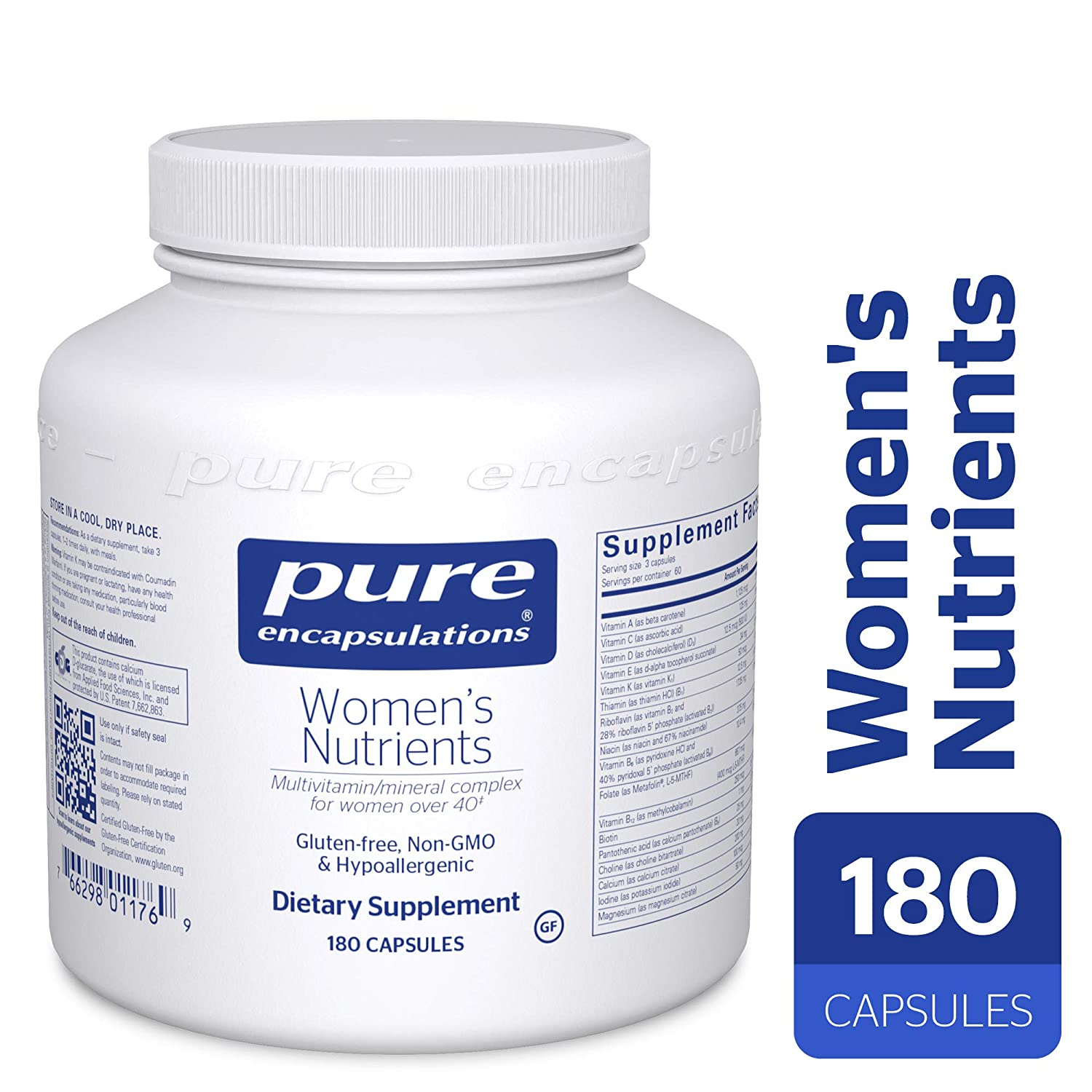 Pure Encapsulations – Women s Nutrients – Hypoallergenic Multivitamin Mineral Complex for Women Over 40*- 180 Capsules