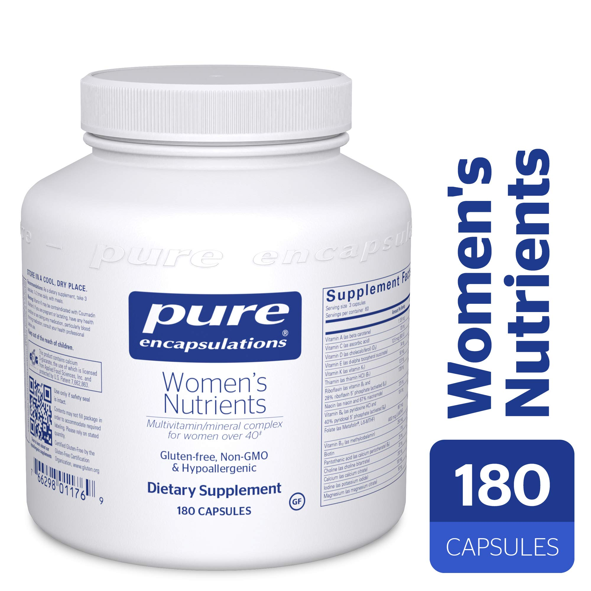 Pure Encapsulations - Women's Nutrients - Hypoallergenic Multivitamin/Mineral Complex for Women Over 40*- 180 Capsules by Pure Encapsulations