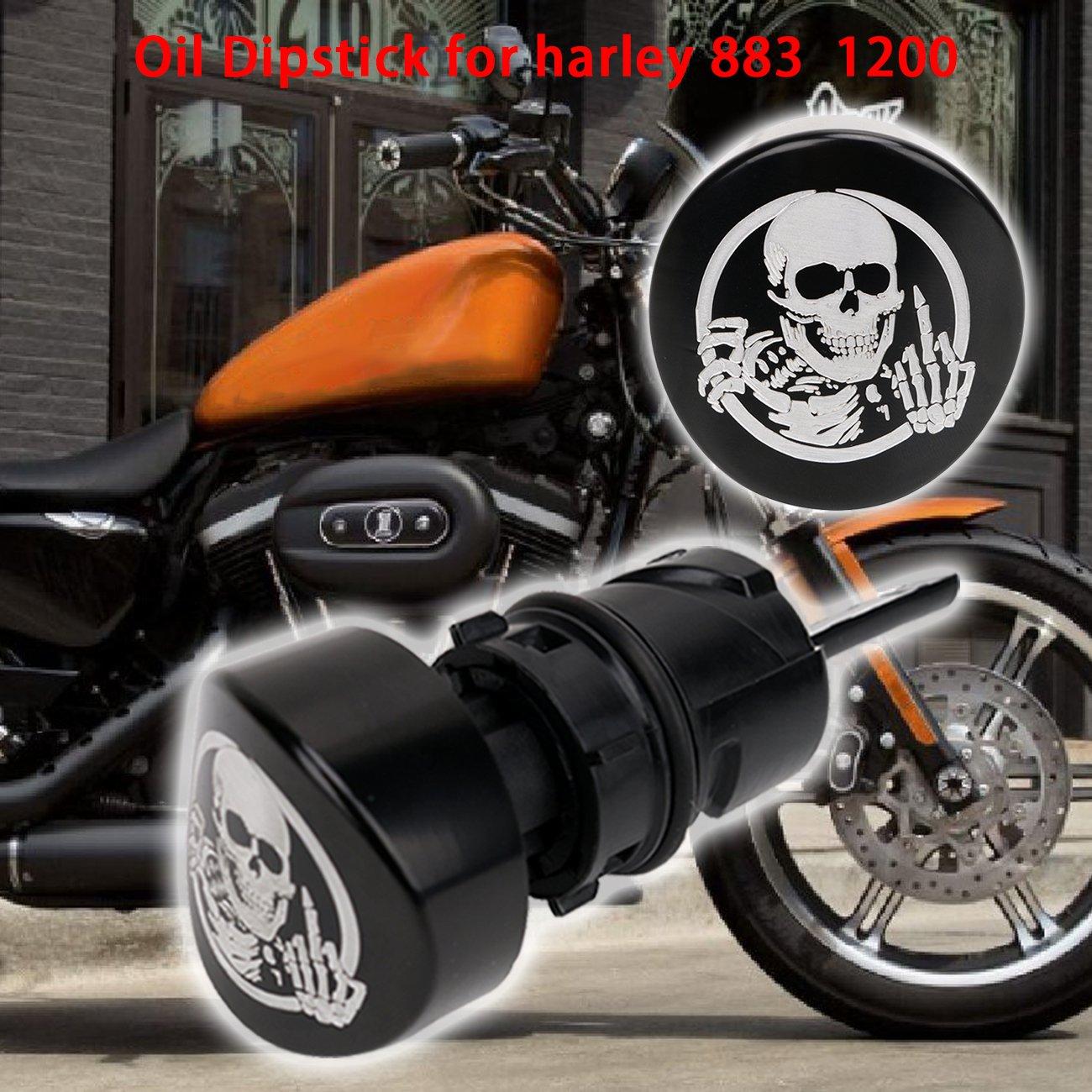 Kawayee Skull and Ghosts Deep Cut Chrome Oil Dip Stick Filler Plug for 2004-2016 Harley Sportster XL 883 1200 48