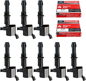 MAS Ignition Coils DG511 with Motorcraft SP515 SP546 Spark Plugs for Ford Lincoln Mercury V8 V10 4.6l 5.4l 6.8l Compatible with 3L3E12A366CA 5C1584 C1541 FD-508 UF-537 DQ50101D (set of 8)