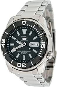 Seiko SNZE97 Men's Sports All Stainless Steel Automatic Watch with Black Dial