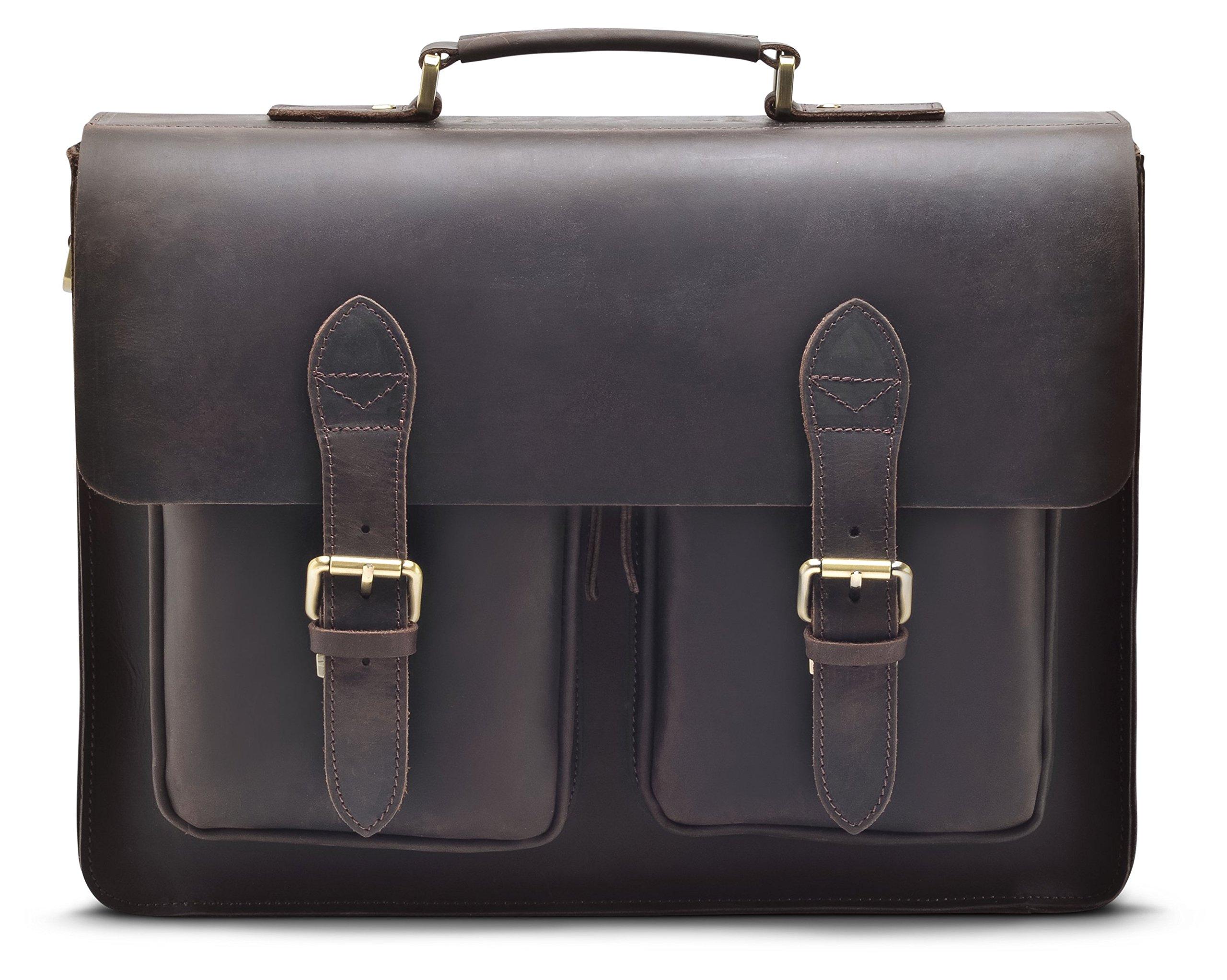 """Hølssen Men's Leather Satchel Briefcase (Dark Brown) Professional Messenger Bag w/ 15"""" Laptop Pocket"""
