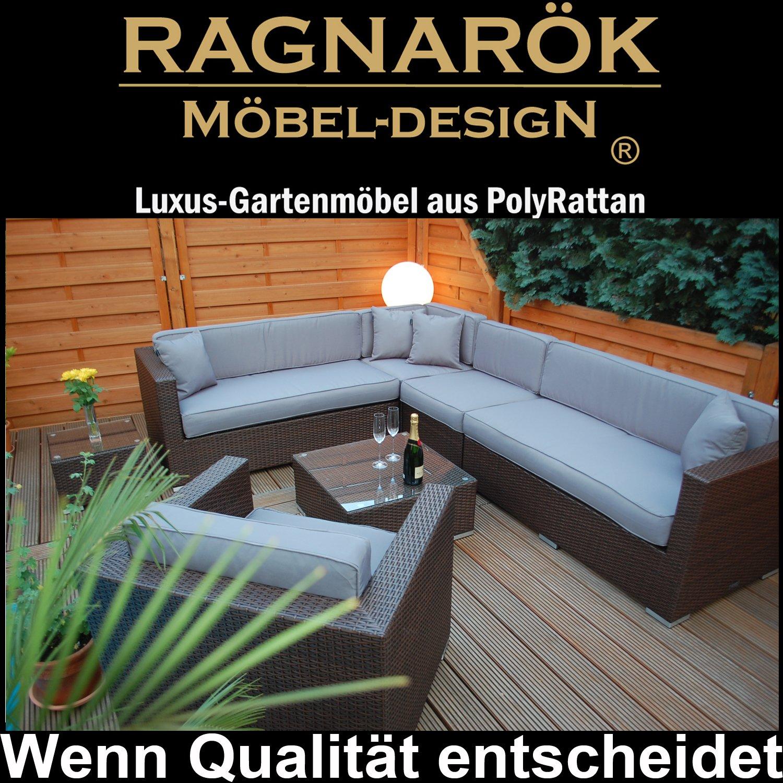 PolyRattan Lounge DEUTSCHE MARKE -- EIGNENE PRODUKTION 8 Jahre GARANTIE auf UV-Beständigkeit Garten Möbel incl. Glas und Polster Ragnarök-Möbeldesign braun Gartenmöbel
