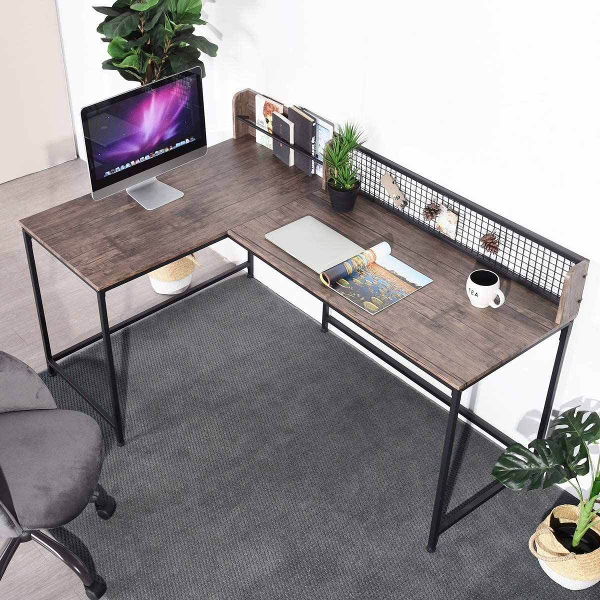 "GreenForest L Shaped Corner Desk, 65"" x 43"" Industrial Style Large Desktop Computer Gaming Desk for Home Office, Walnut"
