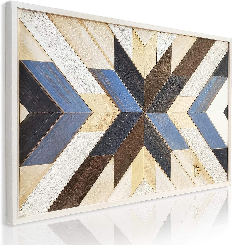 DYKANBO Cuadro con Mosaico Geométrico de Madera Reciclada para Decorar las paredes del Hogar con un Estilo Nórdico Escandinavo Moderno
