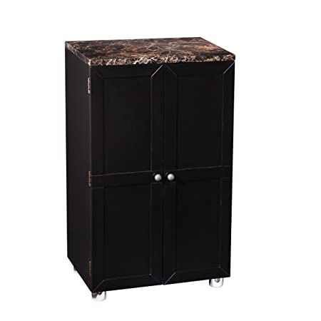 Southern Enterprises Cape Town Contemporary bar Cabinet, Black Finish with Marble Countertop