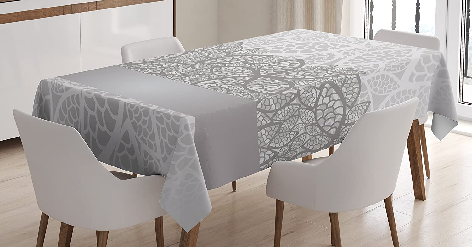 Ambesonne Grey Tablecloth, Lace Inspired Flower Motifs Bridal Composition Stylized Leaves Wedding Theme, Dining Room Kitchen Rectangular Table Cover, 60 W X 84 L Inches, Gray Pale Grey White
