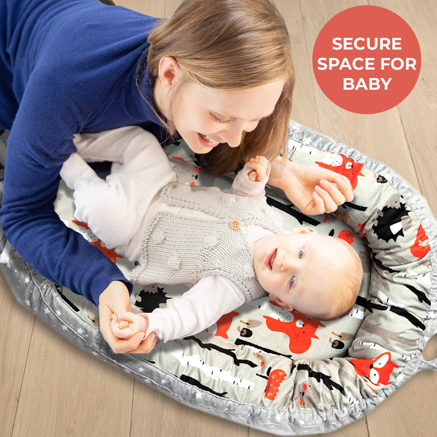 Coco&Lan Baby Lounger, Soft and Breathable Newborn Lounger, Reversible Baby Nest Sleeper, Newborn Lounger Pillow, Portable Baby Cosleeper, Baby Lounger Nest for Travel & Napping: Baby